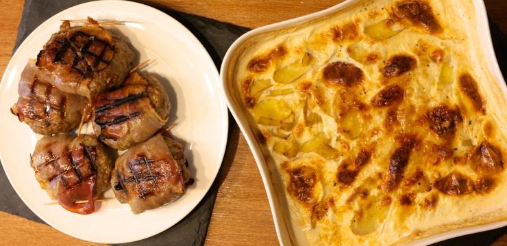 Salbei Pilz Burger mit Kartoffel Gratin