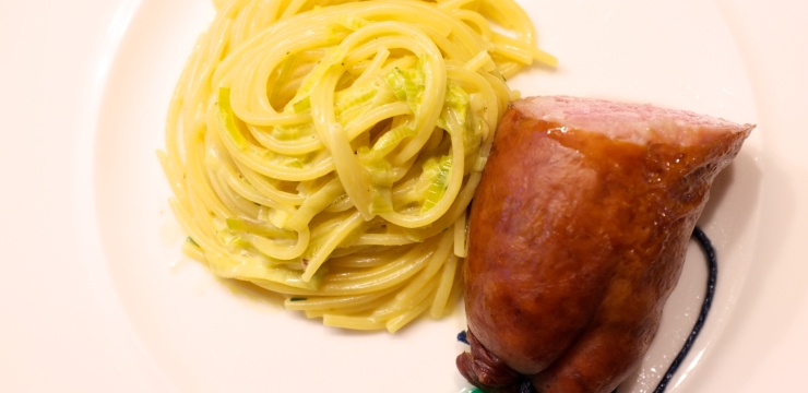 Saucisson mit Lauchspaghetti